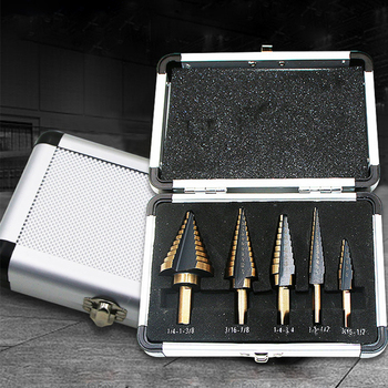 5Pcs HSS Step Drill Bit Aluminum Case Multiple Hole Drilling Bit Set for Metal Wood Drilling Hole Cutter Step Cone Drill