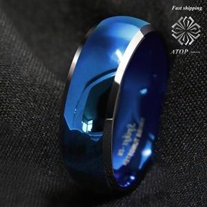 Image 4 - 8mm męski pierścień wolframu niebieski kopułą ze ściętymi srebrnymi krawędziami obrączki darmowa wysyłka