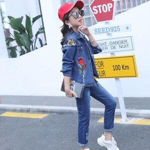 Image 3 - Abesay outono meninas conjunto rosa lantejoulas jaqueta + jeans roupas de moda para meninas adolescentes roupas de inverno para crianças 4 6 8 12 13 anos