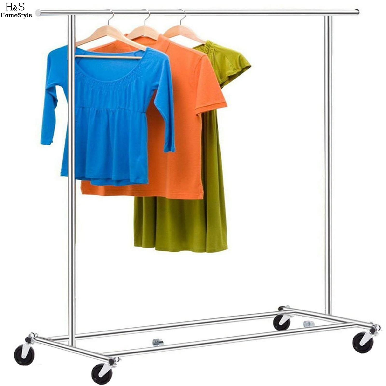 homdox adjustable portable clothes hangers garment drying display hanging racks with rolling wheels n20