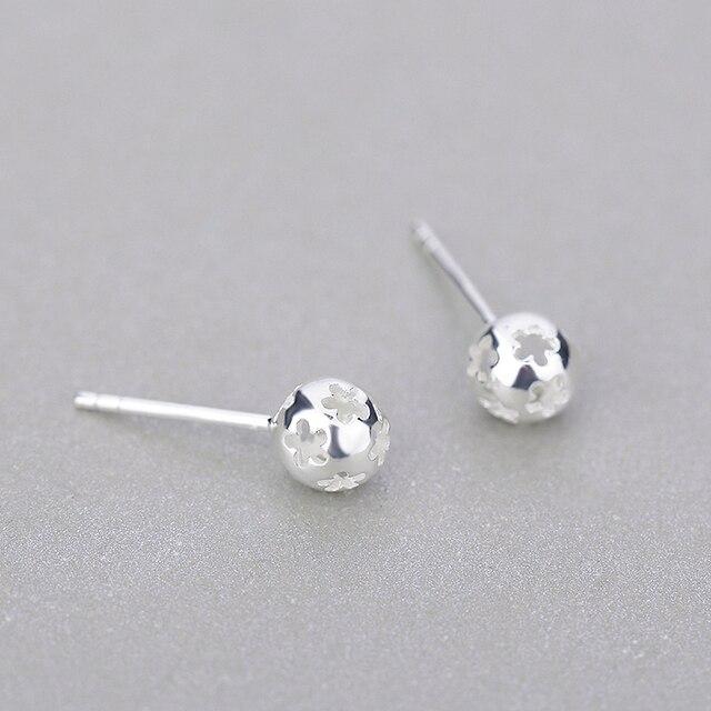 Women Trendy Earrings Korea Fashion Jewelry Plain Silver Tiny Stud Earrings  Simple Style Solid 925 Sterling