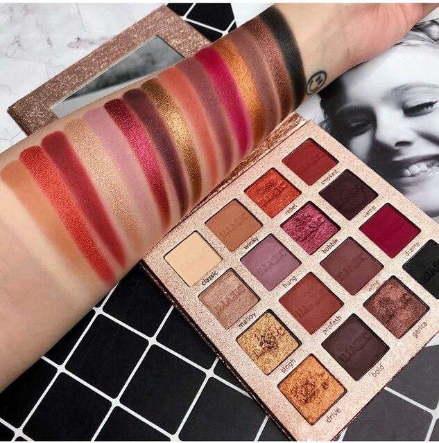 Paleta profesional de sombra de ojos de 16 colores nocturna maquillaje sombra de ojos Pallete mate brillo pigmentado ahumado bálsamo cosmético