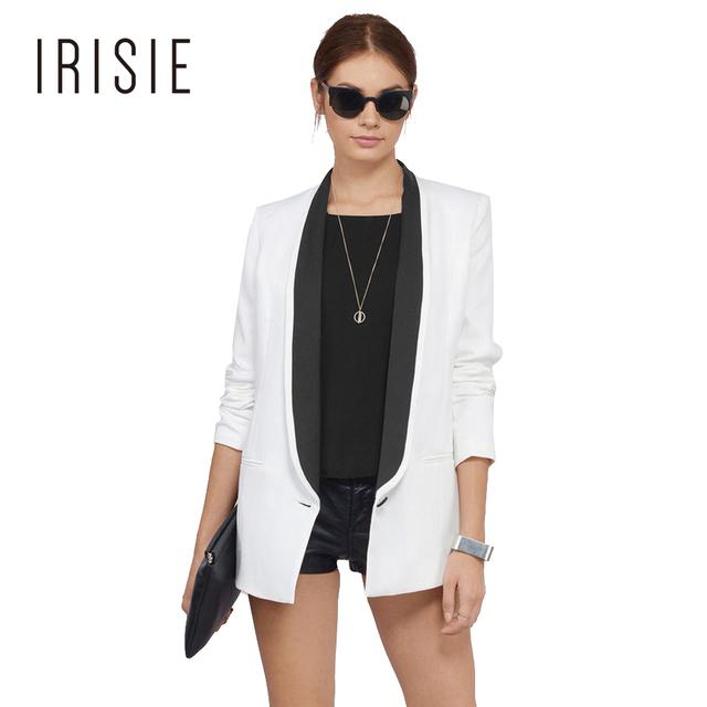 IRISIE Vestuário Outono Branco Magro Ocasional Blazer Mulheres Sexy Bloco de Cor Casaco Elegante Moda Escritório Feminino Básico Chique Outwear