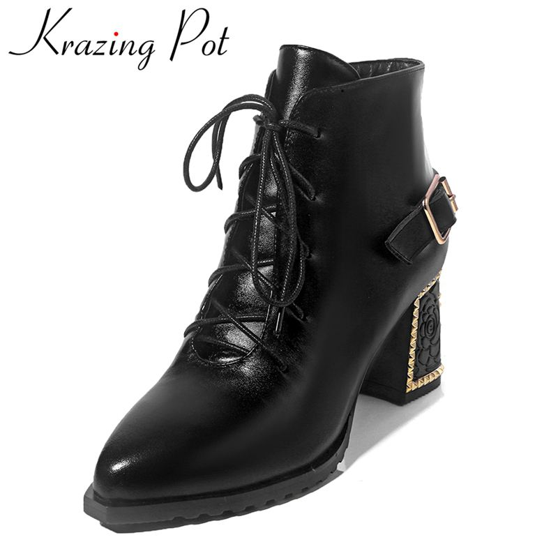 Krazing Pot new arrival genuine leather fashion boots zipper lady large size high heels solid runway handmade ankle boots L7f8