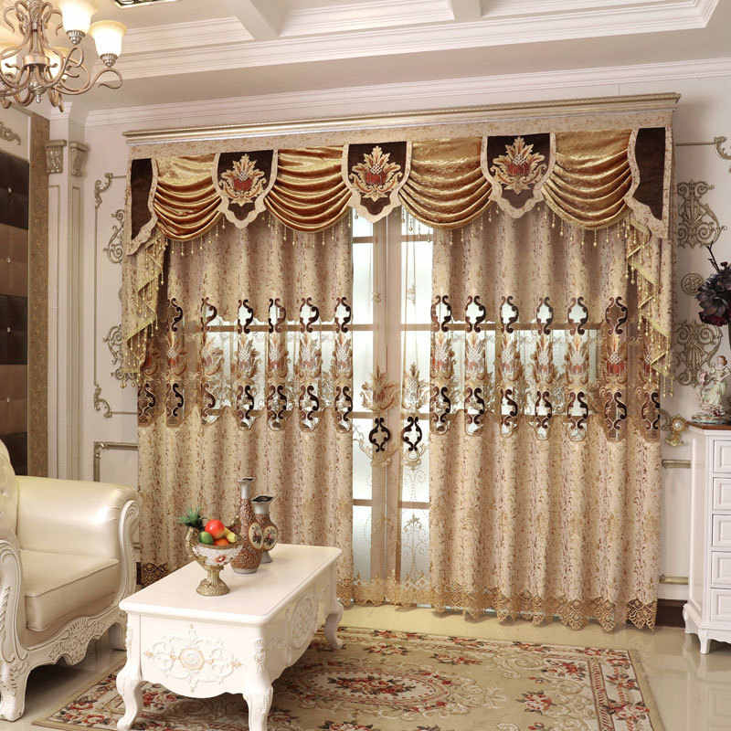 European Curtains for Living Room Luxury Embroidered Luxury Curtains for Bedroom Embroidered Simple Blue Finished Customization