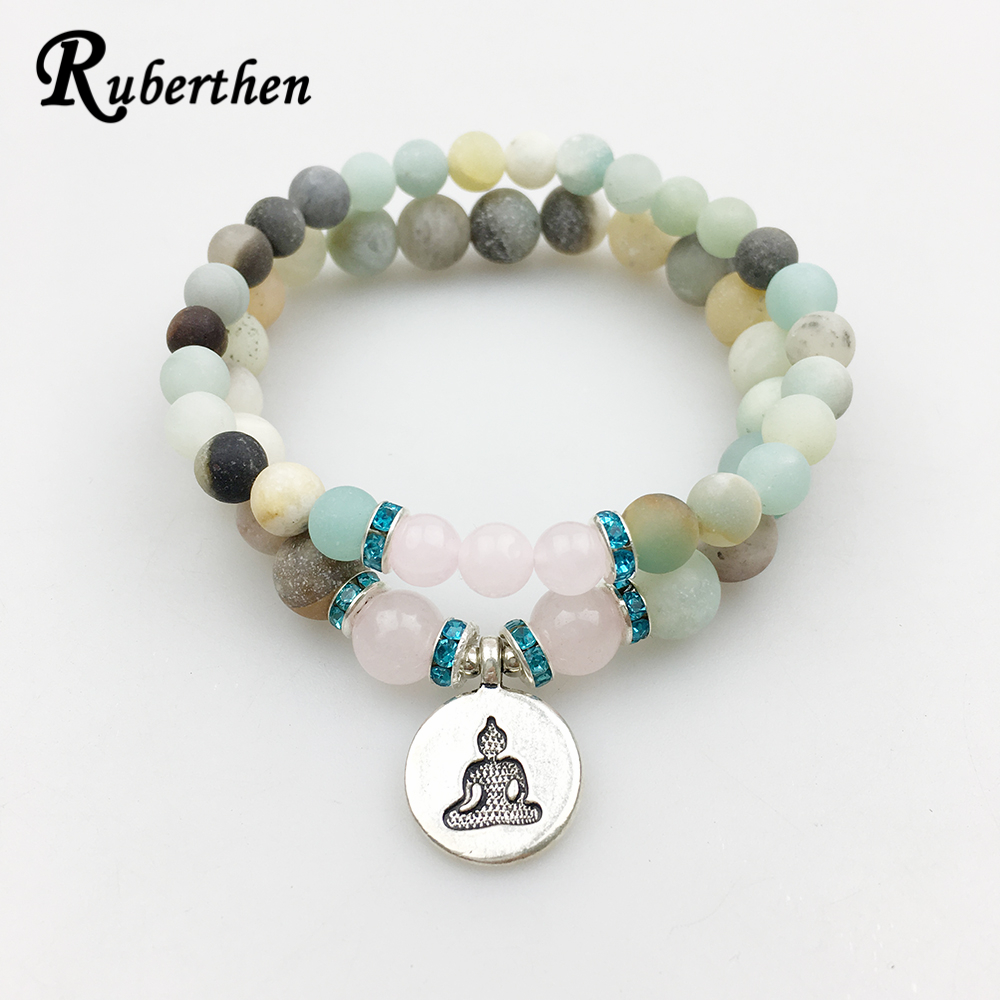 Ruberthen Matte Amazonite Bracelet Set Buddhist Charm with Pink Stone Bracelet High Quality Jewelry Hot