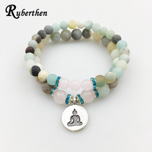 Ruberthen Matte Amazonite Bracelet Set Buddha Charm with Pink Stone Bracelet High Quality Jewelry Hot Sale Free Shipping