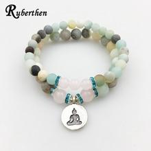 Ruberthen Matte Amazonite Bracelet Set Buddha Charm with Pink Stone Bracelet High Quality Jewelry Hot Sale Free Shipping