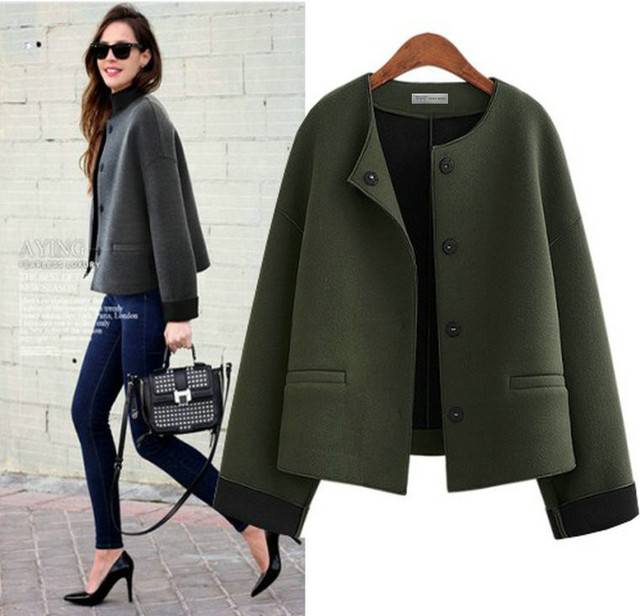 Women Fashion Autumn coat Elegant Small fragrant wind O-neck full sleeve short style lady jacket army green solid color coat