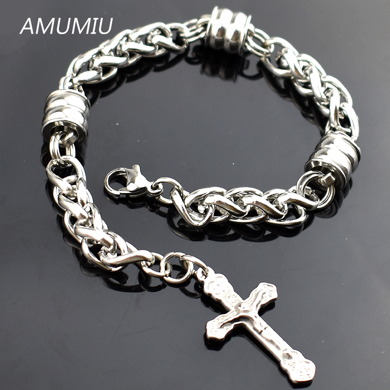 AMUMIU Stainless Steel Chunky Silver Charm Bracelets with Ths