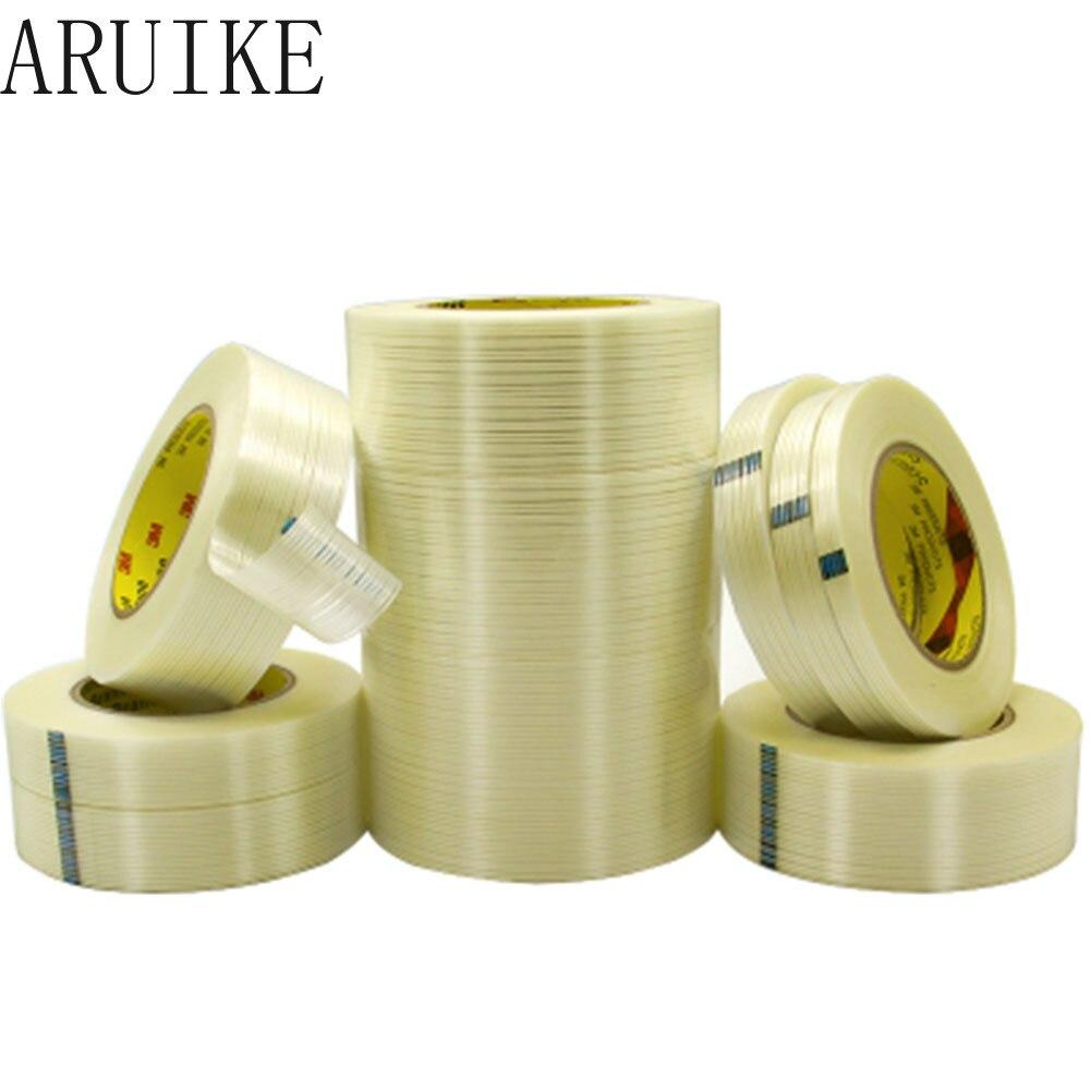Fita de fibra de fibra de vidro de alta temperatura resistente e não-trace listrado 55 m longo Single-sided
