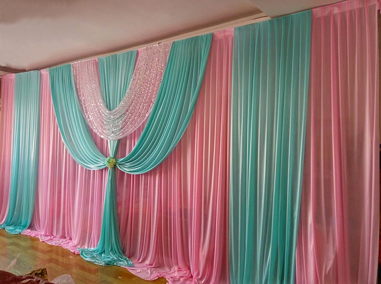 10ft 20ft Hot Pink With Tiffany Blue Swag Wedding Backdrop Stage