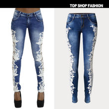 Liva Girl Skinny Floral Lace Side Hollow Out Female Slim Denim Full Length Pencil Pants Patchwork Jeans High Quality Pants