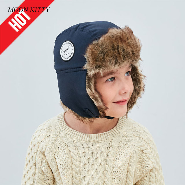Moon kitty winter Baby boys Bomber Hat Big Kids Nylon Fastener Tape Thicken  Keep warm Russian Aviator Solid Earmuffs caps a8bcfb46cb2