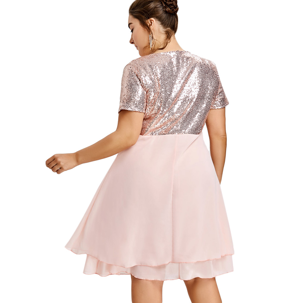 8cda98003904a Wipalo Cute Pink Cocktail Party Dress Women Plus Size Glitter Sequin ...