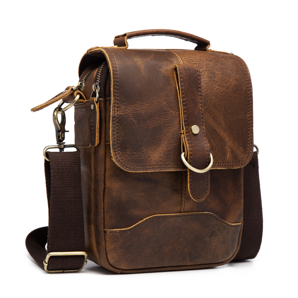 Original Leather Male Fashion Casual Tote Messenger bag Design Satchel  Crossbody One Shoulder bag 8
