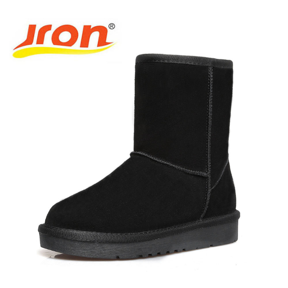 Jron Genuine Leather Mid-Calf Solid Style Woman Plush Snow Boots Rubber Sole Anti-slip Function Warm Boots For Winter double buckle cross straps mid calf boots