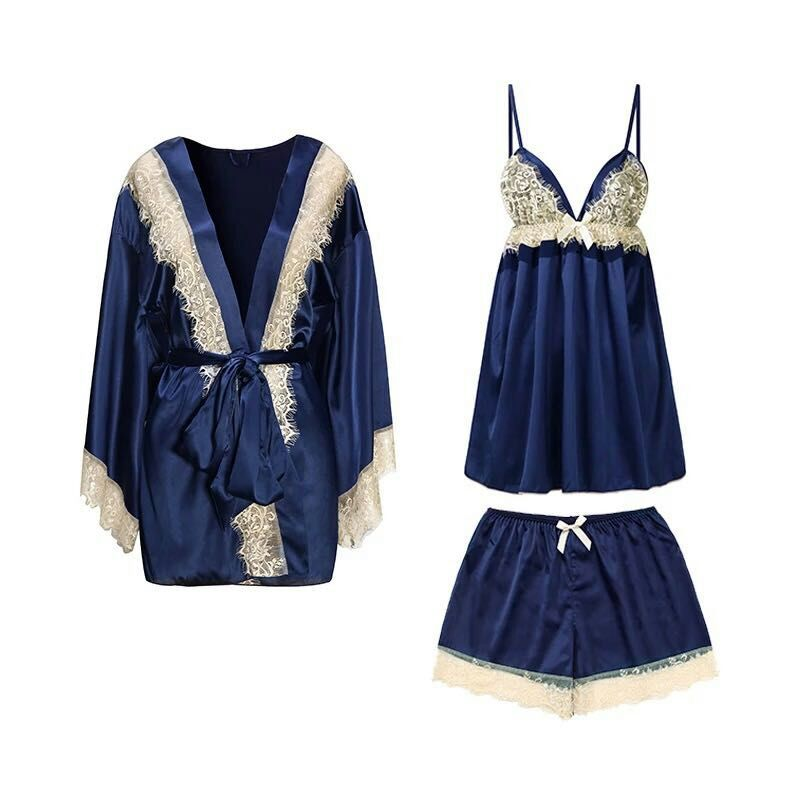 Spring Summer Silk Pyjamas Women s Sexy Lace Sling Shorts Suit Robes 3 Pieces Pajama Sets