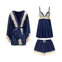 Сезон: весна–лето шелковые пижамы женские сексуальные кружева слинг шорты костюм одежды комплект из 3 предметов Пижамный Комплект женский высокий класс сна