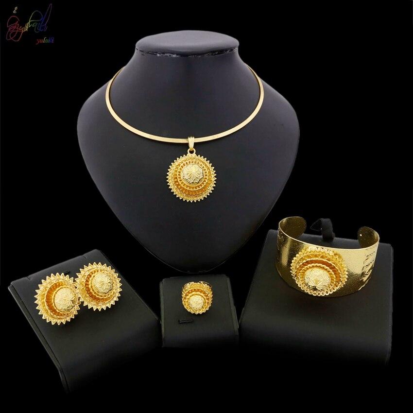 YULAILI Ethiopian 24 Karat Pure Gold Color Women Girls Ethiopian/Eritrean/African/Arabic Jewelry Set цена