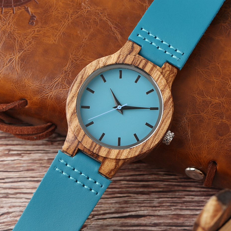 Fashion Blue Wooden Bamboo Quartz-watch Natural Wood Wristwatch Genuine Leather Creative Xmas Gift for Men Women Reloj de madera 2017 2018 (25)