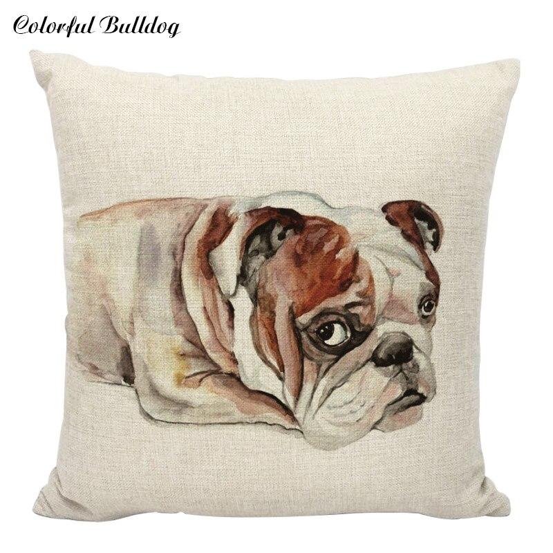 ჱVistoso bulldog Lino Fundas de colchón Almohadas Lovely PET