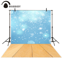 Allenjoy photography background blue glitter Bokeh wood floor backdrop professional photo background studio camera fotografica
