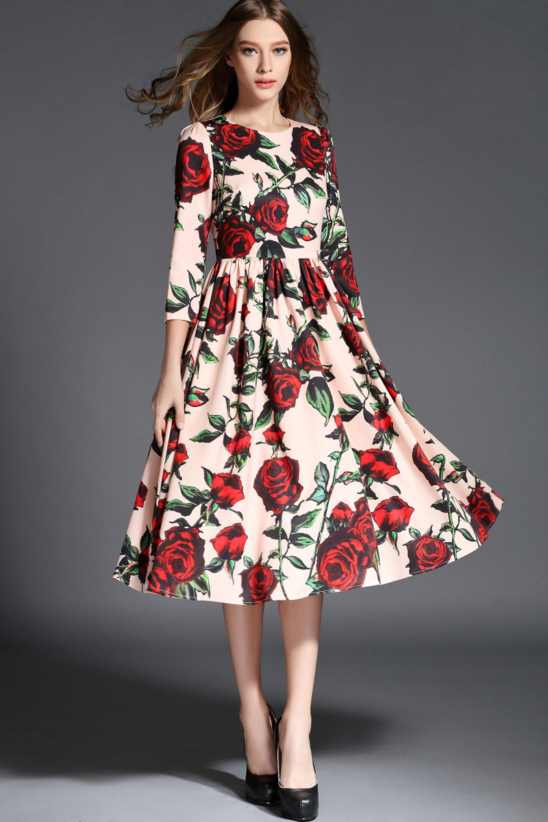 Autumn New floral print dresses white red rose retro ...