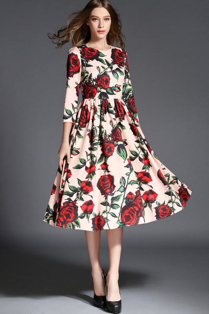 5f0eadf5faea Autumn New floral print dresses white red rose retro vintage large sizes UK  dress