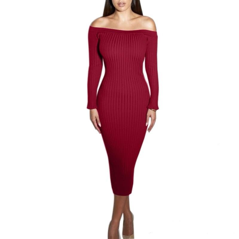 Fashion Long Sleeve Off Shoulder Slash Neck Sexy Club Women Dress Slim Bodycon Knitted Sweater Knee-Length Party Night Dresses sweet off the shoulder long sleeve bodycon sweater dress for women