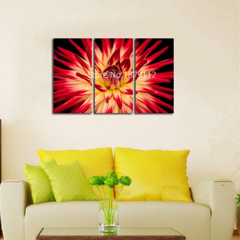 3 Pieces/set Unframed Spray Painting Beautiful Flower Canvas Art ...