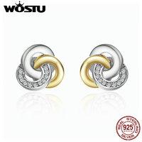 WOSTU Real 925 Sterling Silver Interlinked Circles Stud Earrings For Women Luxury Fine Jewelry Gift ZBBS511