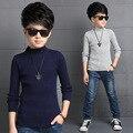 Meninos Camisolas de Gola Alta Assentamento Camisa Sólida Enfant Malhas Vestido Infantil Criança Outono Roupas de Malha Roupas Casuais Criança