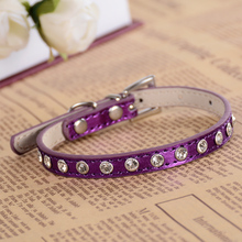 Leather Studded Dog Collar Rhinestones Accessories For Small Dogs Adjustable Puppy Pet Products Red Pink
