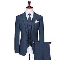 Tùy chỉnh Được Thực Hiện Cưới Suits Groom Tuxedo Business Slim Fit trang phục chính thức Xám Sọc Ca Rô Phù Hợp Thực Hiện phù hợp với cho Chú Rể 3 piece phù hợp với