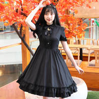 2018 Original Women Black Bowknot Court Retro Daily Short Sleeve Sweet Lolita Dress Lotus Dress Hot Sale Wholesale