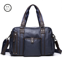 KUNDUI Men Travel Bag PU Leather Tote Black Vintage Style Large Capacity Carry On Hand Luggage