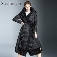 Kış Moda Yeni Desen Anlamsız Aşağı Ceketler Kadın Uzun Fon Overknee Bile Şapka Aşağı Ceketler Coat