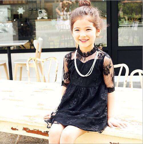 d780f2ddea55 2017 Summer Girl Lace Dress White Black Kids Dresses Cute Korean Kids  Clothes 3 8Y Childrens Dress Wholesale -in Dresses from Mother & Kids on ...