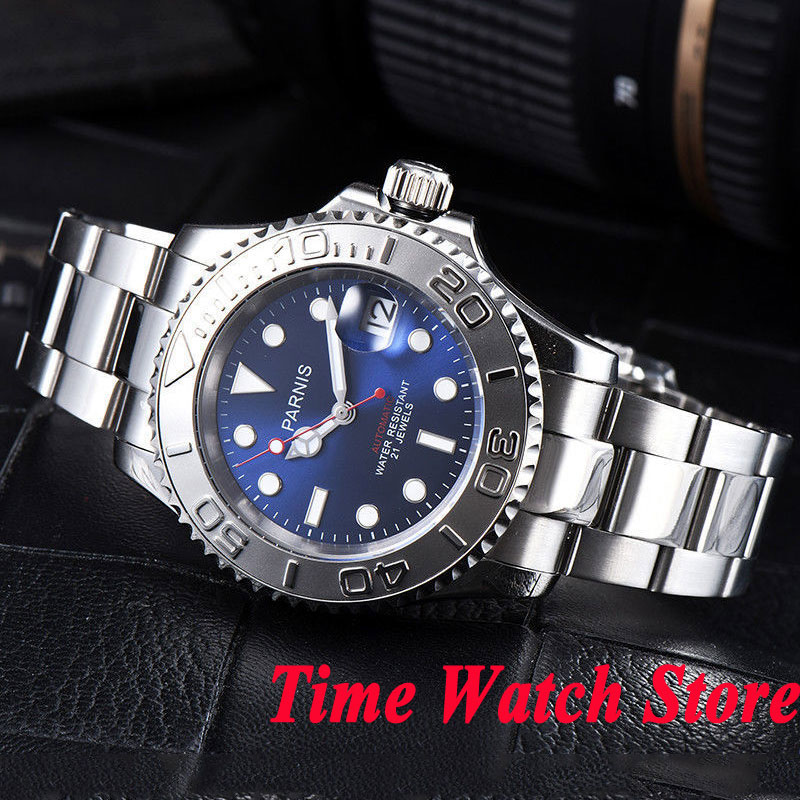 Parnis 41mm men's watch blue dial sapphire glass luminous ceramic bezel 5ATM 21 jewels MIYOTA Automatic wrist watch men 938 цена