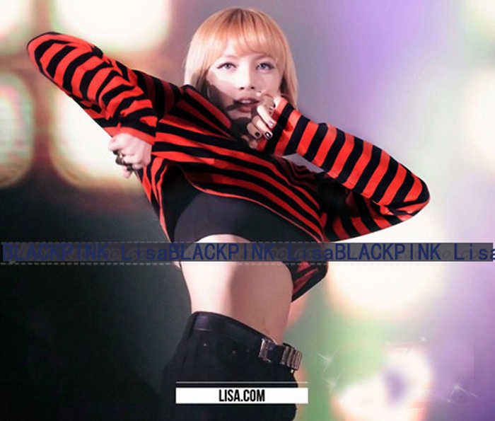 650ddd3ff7b97 ... Crop Top Kpop Black Pink Two Pieces Outfit Striped Long Sleeve Sexy  Harajuku T-shirt ...
