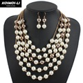 Gold Tone Chain Pearl Necklace New Fashion Imitate Plastic Pearl Beaded Layer Necklace For Women Party Jewelry 6860