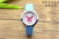 Новые прибыл дети милые животные Простой дизайн кварцевые часы для мальчиков и девочек милые бабочки циферблат учиться время кожа подарок часы 3