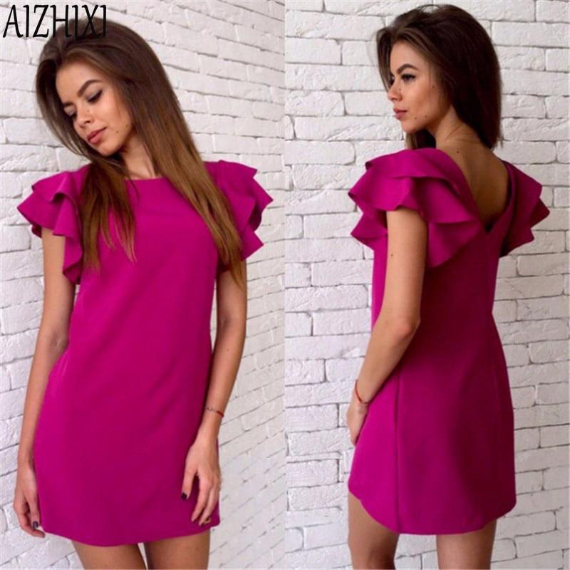Aizhixi fshion mariposa manga backless 2017 del verano solid straight dress muje