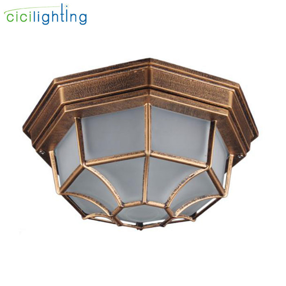 Rustic Frosted Glass Shade Outdoor Ceiling Lights Yard Balcony Garden Flush Ceiling Lamp Europe Style Exterior  IP Rate Fixture