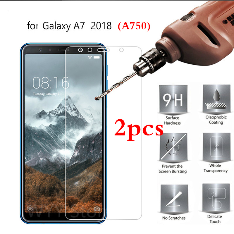 2Pcs Tempered Glass for Samsung Galaxy A7 2018 A750 Screen Protector Phone Protective