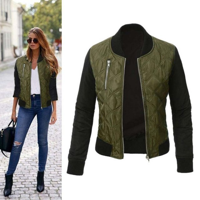 Fashion Women Jacket 2018 Casual Retro Zipper Up Bomber Coat jaqueta  feminina Autumn Outwear Women Slim b07f310f9