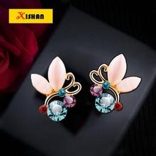 Multicolour Rhinestone Crystals Opal Butterfly Clip Earrings For Women Female Jewelry No Hole Ear Clips Earring Brincos ear cuff
