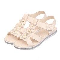 Nouvelles Femmes De Mode D'été de La Bohême Fleur Sandales Simple Solide Pantoufles Haute Qualité Plat Doux Chaussures de Plage Confortable Casual Chaussures S