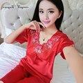 Мода пижамы короткие женщины лето сексуальная выдалбливают кружева цветочные v шеи пижамы femme пижамы костюм